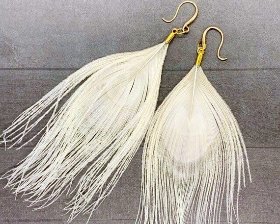 Feather Earrings, Real Feather Tassel Earrings, Creme Colored Dangle Feather Long Earrings, Gold Plated, Gold Filled, Peacock Feathers