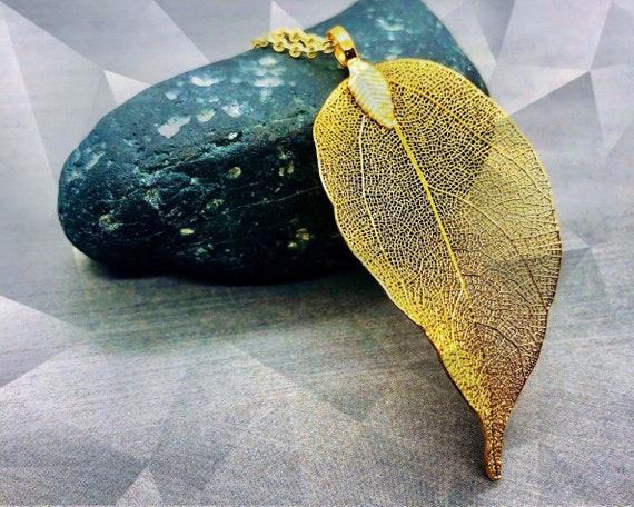 Real Leaf Necklace Gold Filled, Natural Leaf Pendant Long Necklace, 18K Gold Dipped Nature Inspired Large Leaf Necklace, Gift for Her