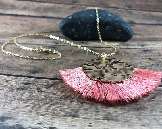 Long Layered Gold Necklace pink