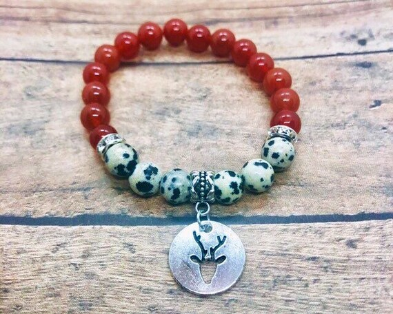 Gemstone Bracelet, Red Jade and Dalmatian Jasper Bracelet, Red Jade Bracelet, Spiritual Healing Yoga Wrist Mala, Deer Charm Jewelry