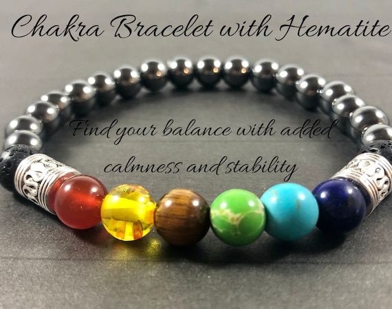 Chakra Bracelet Men Hermatite Gift for Him