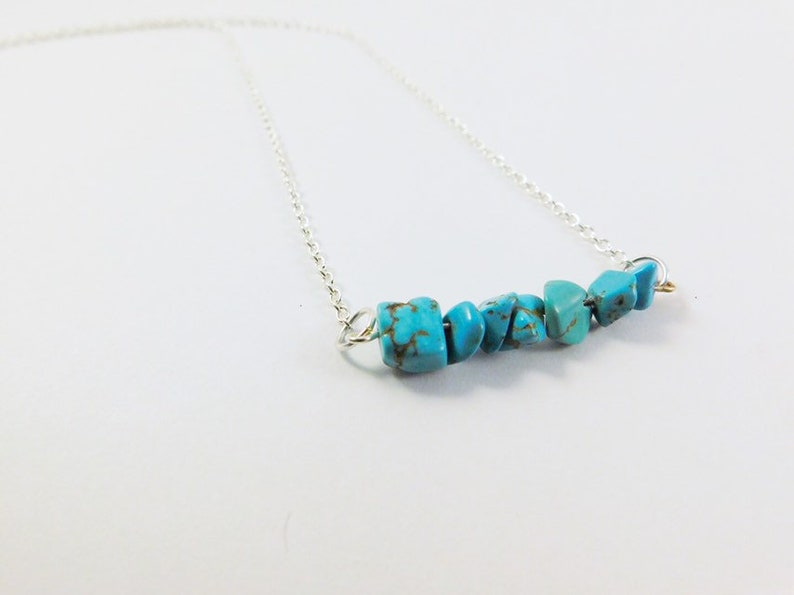 Simple Turquoise Choker Necklace or Long Layering Bar Necklace Beaded Gemstone Jewelry Gift for Her Turquoise Necklace Sterling Silver