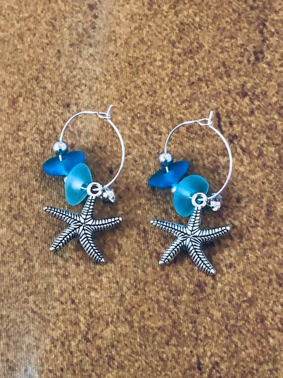 Aqua Blue Sea Glass Silver Hoop Earrings