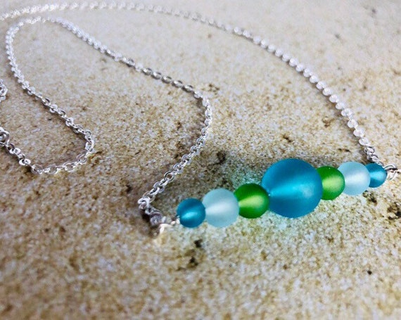 Sea Glass Blue Green Beaded Necklace