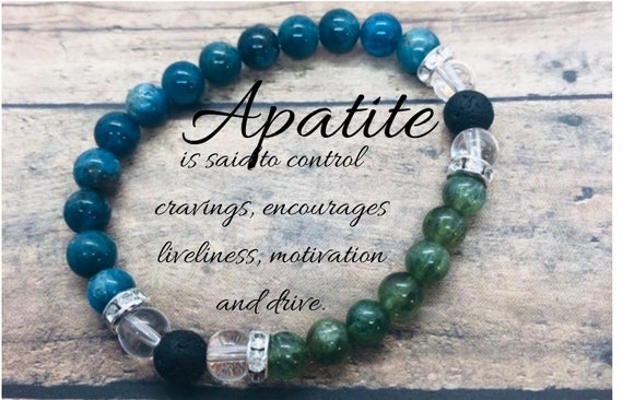 Weight Loss Support Bracelet, Apatite Bracelet, Blue and Green Apatite, Crystal Diffuser Motivational Bracelet, Gift for Her