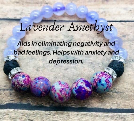 Amethyst Bracelet, Anxiety Support Bracelet, Jasper Calming Bracelet, Galaxy Sea Sediment Imperial Jasper Diffuser Bracelet, Aromatherapy