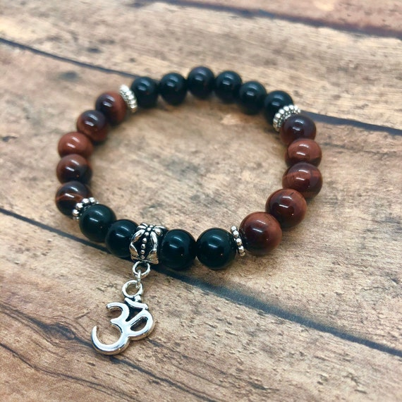 Red Tiger Eye Bracelet, Black Onyx Bracelet, 7 Chakra Energy Bracelet, Power Protection Bracelet, Men, Women, Yoga Meditation Bracelet