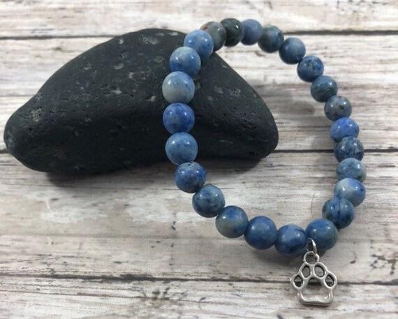 Sodalite Bracelet, Gemstone Beaded Bracelet, Chakra Healing Yoga Jewelry, Stretch Wrist Mala, 8mm Beads, Choice of Charm