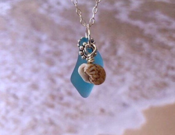 Sea Glass Necklace Sterling Silver Gold Filled