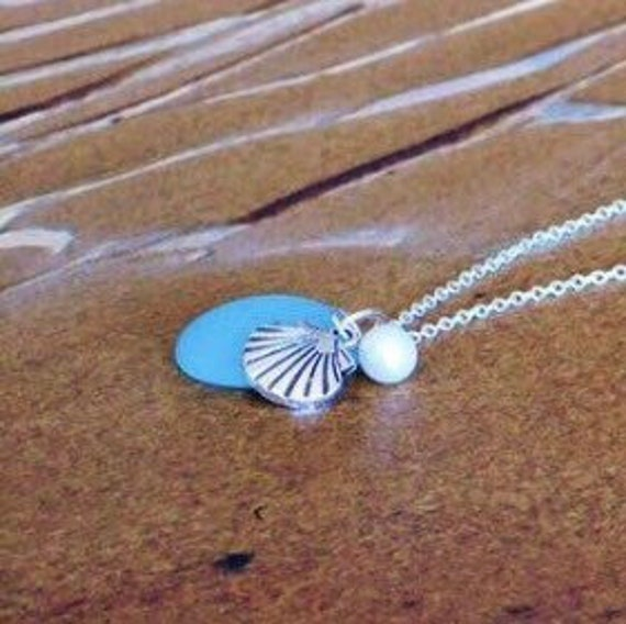 Sea Glass Necklace Blue Beach Glass Jewelry Sterling Silver Sea Glass Pendant aqua blue Freshwater Pearl Shell Charm Necklace