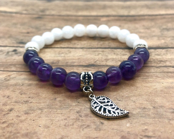Amethyst Bracelet, White Natural Jade Jewelry, Purple and White Bracelet, Charkra Anxiety Support Healing Meditation Bracelet, Gift for Her
