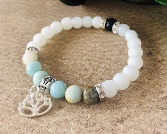 Lotus Flower Bracelet, Amazonite Bracelet