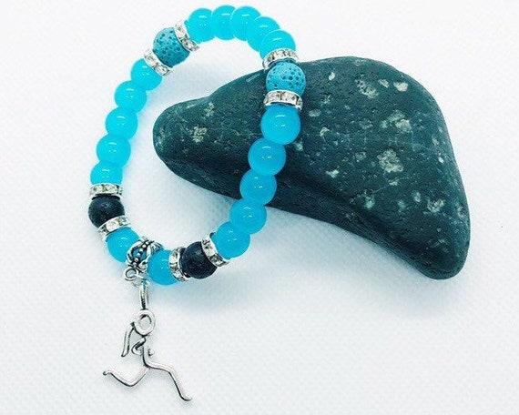 Gemstone Bracelet, Blue Quartz Lava Rock Healing Bracelet, Runner Silver Charm, Energy Bracelet, Yoga Meditation Bracelet