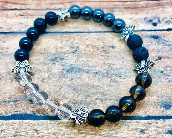 Anti-Inflammation Healing Bracelet, Arthritis Crystal Bracelet, Joint Support Jewelry, Black Tourmaline, Smokey Quartz, Hematite