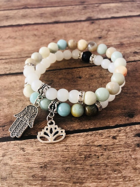 Amazonite and Frosted Quartz Crystal Balance Diffuser Bracelet Set