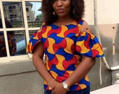 Ankara fitted blouse with cold shoulder blouse