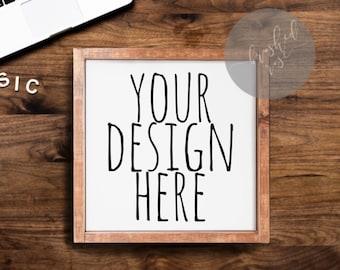 Download Free Wooden sign mock up, farmhouse mock-up, sign on desk jpg, wood frame mockup,square sign PSD Template