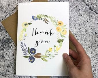 Thank You Card Floral Wreath - Cute