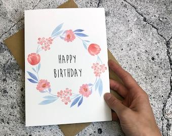 Birthday Card Floral Wreath