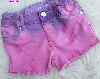 Distressed Dyed Shorts Girls 2T Pink