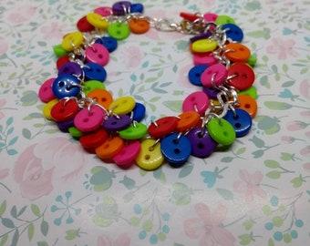 Bright Button bracelet, rainbow colours, custom lengths