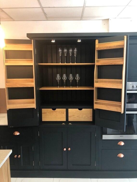 Bespoke Kitchen Larder with oak spice racks