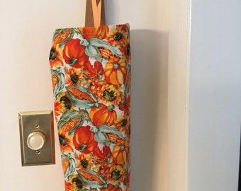 Pumpkin and Corn Plastic Bag Holder