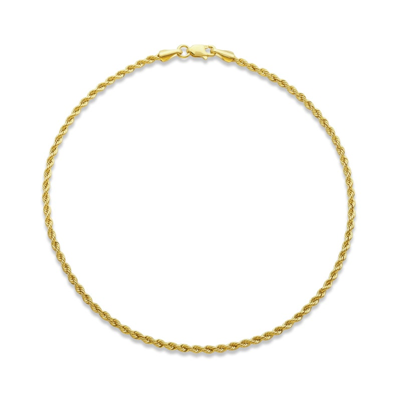 LoveBling 10k Yellow Gold 2mm Diamond Cut Rope Chain Anklet with Lobster Lock 10