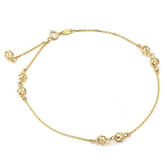 Fine Anklets Lovebling 10k Gold 1.8mm Rolo Chain With 5 Cz Stone Pendants Anklet #19