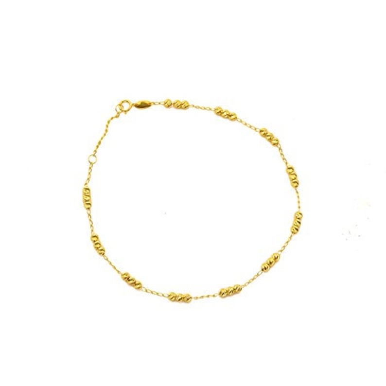 #9 Real 10k Gold .50mm Chain Teddy Bear Charm Anklet Ankle Bracelet Easy To Use
