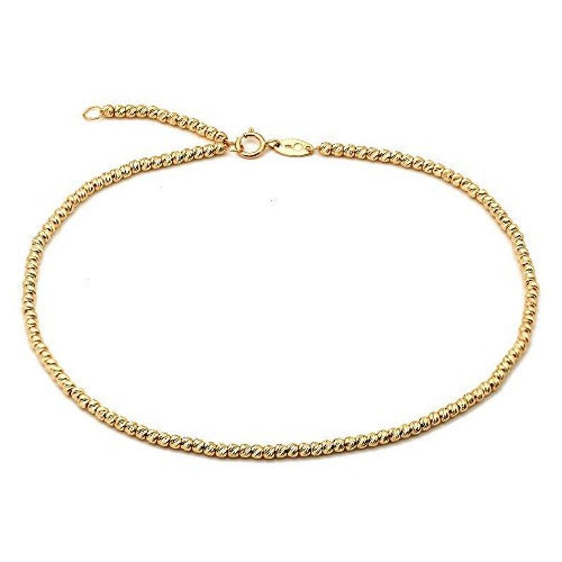 Easy To Use #9 Real 10k Gold .50mm Chain Teddy Bear Charm Anklet Ankle Bracelet