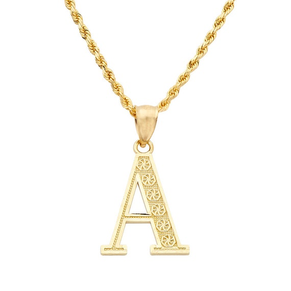 High Polish Letter O Script Initial 10K Yellow Gold Small Charm Pendant