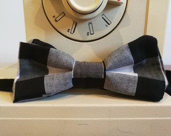 Dark Gingham Check Bow Tie