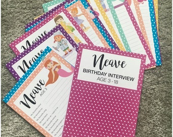 Girls Personalised Birthday Question Cards
