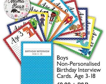 Boys Non-Personalised Birthday Keepsake Question Cards