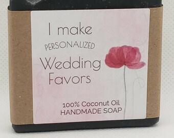 Personalized Coconut Oil Soap Favors ~ Wedding & Bridal Shower Favors, Baby Shower Favors, Business Marketing Promotional - Custom Labels