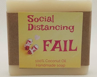 Baby Shower Favors,   Handmade 100% Coconut Oil Soap Favors, Personalized labels, Custom label,   Social Distancing FAIL