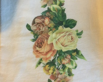 100 % Cotton Flour Sack Kitchen Towel with mixed  flowers| Gifts under 10 dollars|Roses|Rustic|Chic cottage country