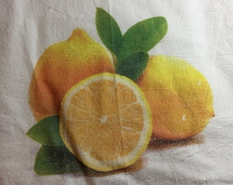 100 % Cotton Flour Sack Kitchen Towel Lemon