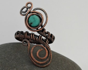 Hand wrapped, Bohemian, Gemstone Jewellery, Wire Wrapped Copper and Turquoise Ring