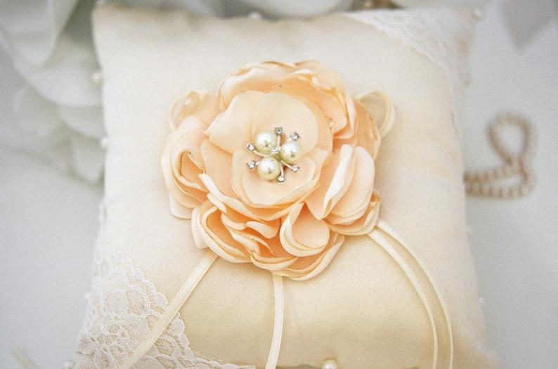 Wedding Pillow Ring Bearer Satin Lace Ring Pillow Champagne Wedding Ring Pillow Ring Bearer Pillow Wedding Ring Pillow Ring Cushion