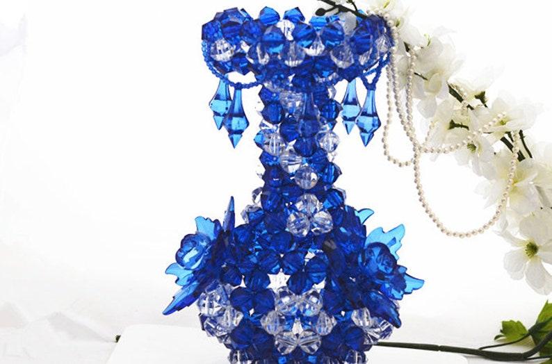 image 0 ...  sc 1 st  Etsy & Handmade Blue Flower Vase Handmade Vase Centerpiece Beadwork | Etsy