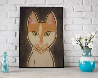 Hand Painted Cat Canvas