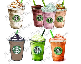 Coffee Starbucks Clipart Designs PNG Drawings Watercolor