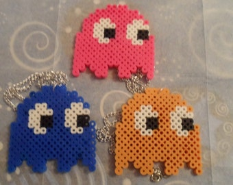 Perler Pac Man Ghost Necklace