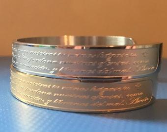 Padre Nuestro Cursive Prayer Bracelet Engraved Cuff Bracelet