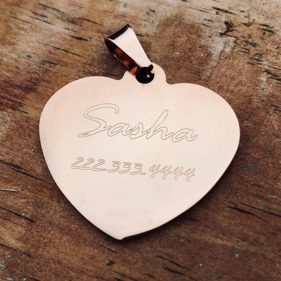Rose or coeur Pet ID - acier inoxydable - gravé étiquette de chien