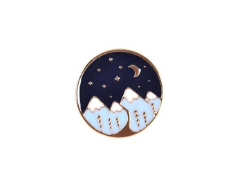 Moutain with Dark Sky Stars and the Moon Lapel Pin