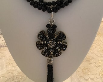 Fancy cut black onyx beads with removable pendant