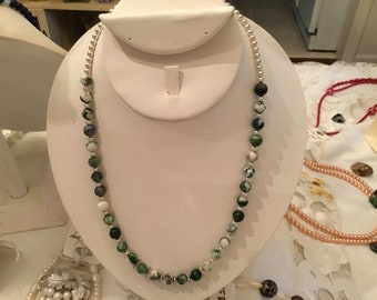 Moss agate and Sterling Silver beads with crystal spacers necklace.
